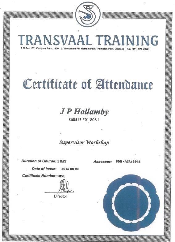 Transvaal-Training-Certificate